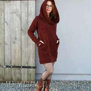 swetry ciepły bawełniany sweter, sweter długi, z kieszeniami, kapturem