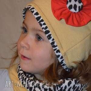 mak i panterka - czapka komin, dziewczynka, panterka, kwiatek, czapka, komin