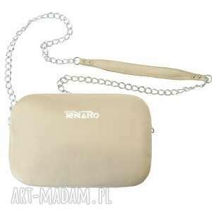 ręczne wykonanie mini skórzana torebka bransoletka beżowa