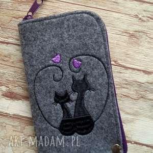 happyart filcowe etui na telefon - zakochane koty, smartfon, pokrowiec, kot, haft
