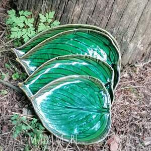 zestaw 4 talerzy - liści funkiasty, talerz, liście, talerze, liść, patery