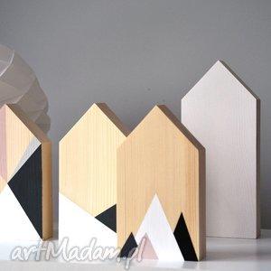 4 domki drewniane dekoracje w stylu skandynawskim, domki, domek, drewniany