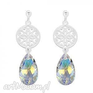srebrne kolczyki z rozetą i kryształem swarovski® crystal