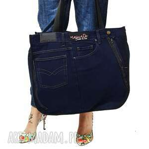 duża torba upcykling jeans american classics 53 od majunto, upcykling