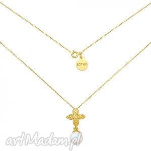 złoty naszyjnik z rozetką i opalizującą perłą