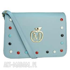 na ramię mini listonoszka kolorowe ćwieki baby blue, mini, listonoszka, torebka