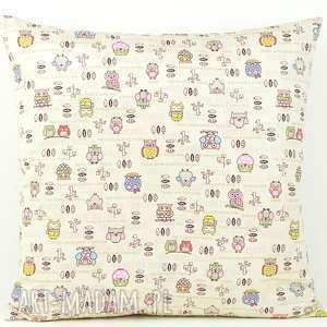 hand-made pokoik dziecka poszewka na poduszkę 45x45cm - sowy i kawowe groszki