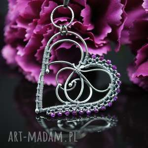 rubinowe serce wisiorek smile, naszyjnik, wire wrapping, wisiorek, serduszko