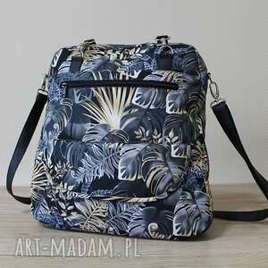 plecak torba listonoszka - monstery czarno-złote, plecak, pakowna, nowoczesna