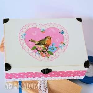 Pudełko drewniane - Ptasia miłość, pudełko, rocznica, ptak, serce