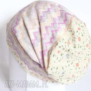 czapka wiosenna wzory jesień choroba bawełna - czapka, etno, kolorowa, bawełna