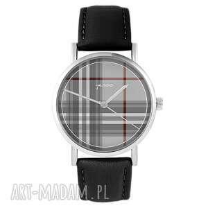 zegarki zegarek yenoo - szkocka krata skórzany, czarny, unisex