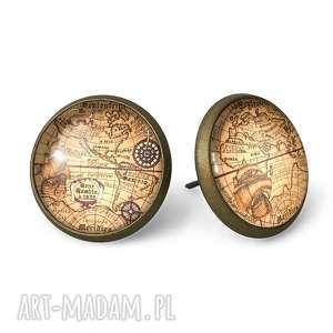 ręcznie wykonane kolczyki stara mapa świata - kolczyki sztyfty