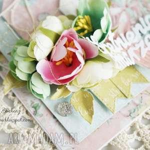 handmade scrapbooking kartki kartka urodzinowa z babeczką (w pudełku)