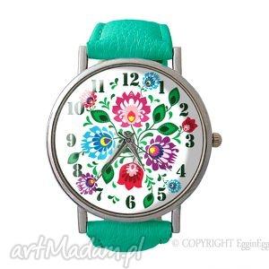 hand-made zegarki folkowe kwiaty - skórzany zegarek z dużą traczą