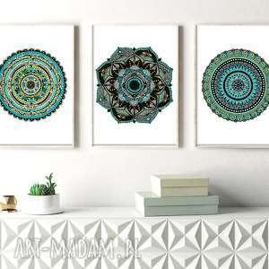 Zestaw 3 prac 50x70cm, plakatplakaty, obraz, sztuka, mandala, mandale, dom