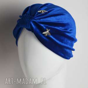 welurowy turban - czapka, turban, kobalt, chaber