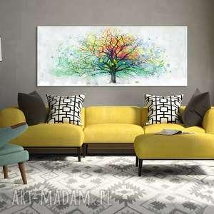 Nowoczesny obraz do salonu drukowany na płótnie z drzewem, abstrakcyjne drzewo, duży