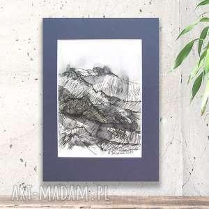 biało czarny rysunek z pejzażem górskim, nowoczesny obraz czarno biały, góry
