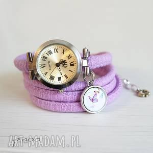handmade zegarki zegarek, bransoletka - motyle owijany, fioletowy