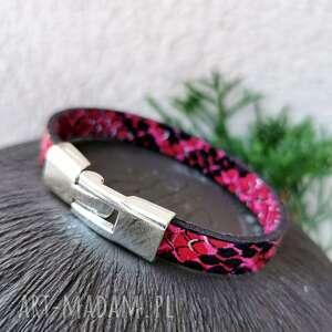 bransoletka o wzorze skóry węża w55, węzowa bransoletka, spóra
