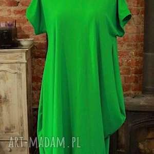 sukienki green dress, bawełniana, asymetryczna, zielona, letnia, midi, sukienka