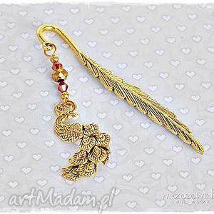 złoty paw - zakładka do książki, zakładka, prezent, paw, podarek, piórko
