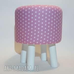 Pufa Różowe Gwiazdki Białe Nogi - 36 cm, puf, taboret, stołek, ryczka, hocker