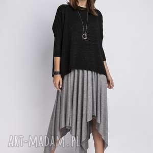 ręcznie zrobione swetry luźny sweterek, swe040 czarny mkm