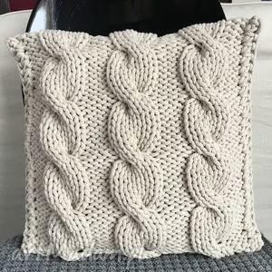 hand made poduszki poduszka ze sznurka bawełnianego krem 40x40 cm