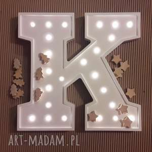 podświetlana literka k - lampka, lampa, lampka, litera, typografia, dziecko