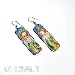 langner design kolczyki ręcznie rysowane i malowane, madonna
