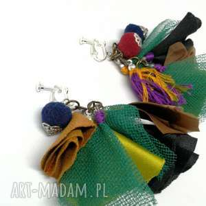 klipsy lekkie etno folkowe pompony handmade, klipsy, etno, materiał, folk