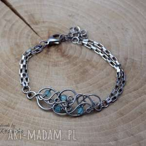 bransoletka apatyt, wire wrapping, stal chirurgiczna, bransoletka, wrapping