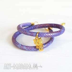 handmade bransoletka - sowa złota, fioletowa, wężowa