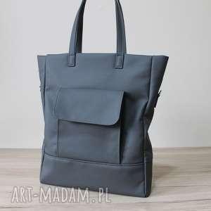na ramię shopper bag - ciemny szary, stalowy, elegancka, nowoczesna, pakowna