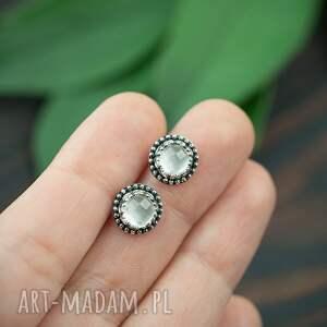 srebrne kolczyki z kryształem górskim, sztyfty, kryształ górski, retro