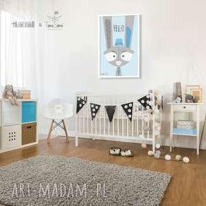 pokoik dziecka autorski plakat w stylu skandynawskim baby bunny, pokój
