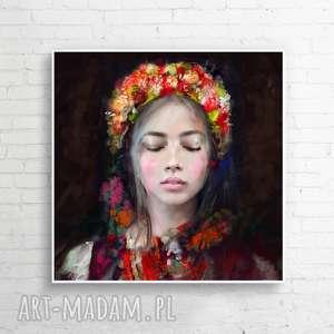 Obraz na płótnie Lady Folk 100x100 cm, obraz, dekoracje, dodatki, design, plakaty
