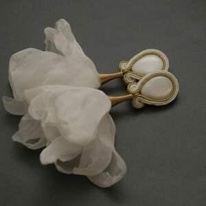 kolczyki sutasz z kwiatkami, sznurek, wyjściowe, długie, eleganckie, ślubne