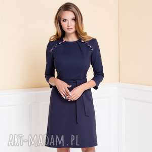 Sukienka Nicole Granatowa z króką falbaną Roz. 36;38;40, sukienka-do-pracy