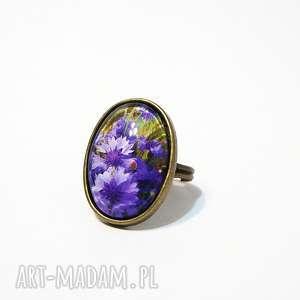 pierścionek - fioletowe chabry antyczny brąz, pierścionek, owalny, kwiaty