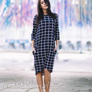 Sukienka T148, kratka, sukienka, dzianina, kieszenie, luźna, wygodna, kratka