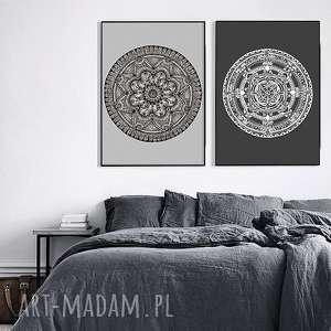 Zestaw dwóch prac 60x90cm, mandala, mandale, grafika, plakat, etno