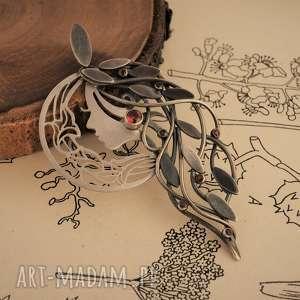 wisior jesienna driada, srebrny z granatami, granat, srebro, secesja, jesień