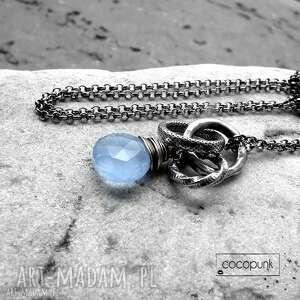 cocopunk srebro i chalcedon błękitny - nowoczesny naszyjnik, niebieski