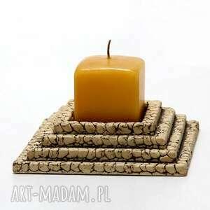 lampion kwadratowy schodkowy, lampion, świecznik, szamot, dekoracja, unikat