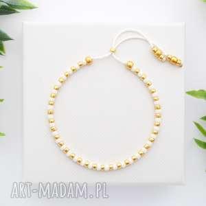 bransoletka koralikowa minimal dots - white and gold, bransoletki, koralikowe