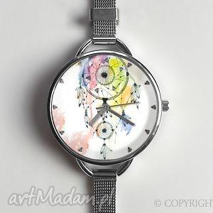 ręcznie wykonane zegarki łapacz snów i - zegarek z dużą tarczką 0875ws