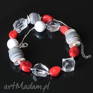 czerwono-szary - muszla, koral, kryształ, ceramika, srebro